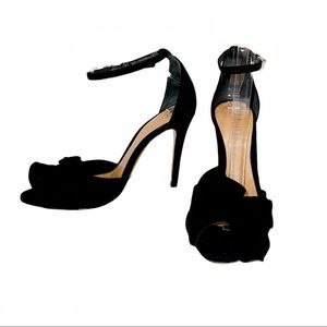 SCHUTZ| Black Natally Suede Bow Tie Stiletto Heels